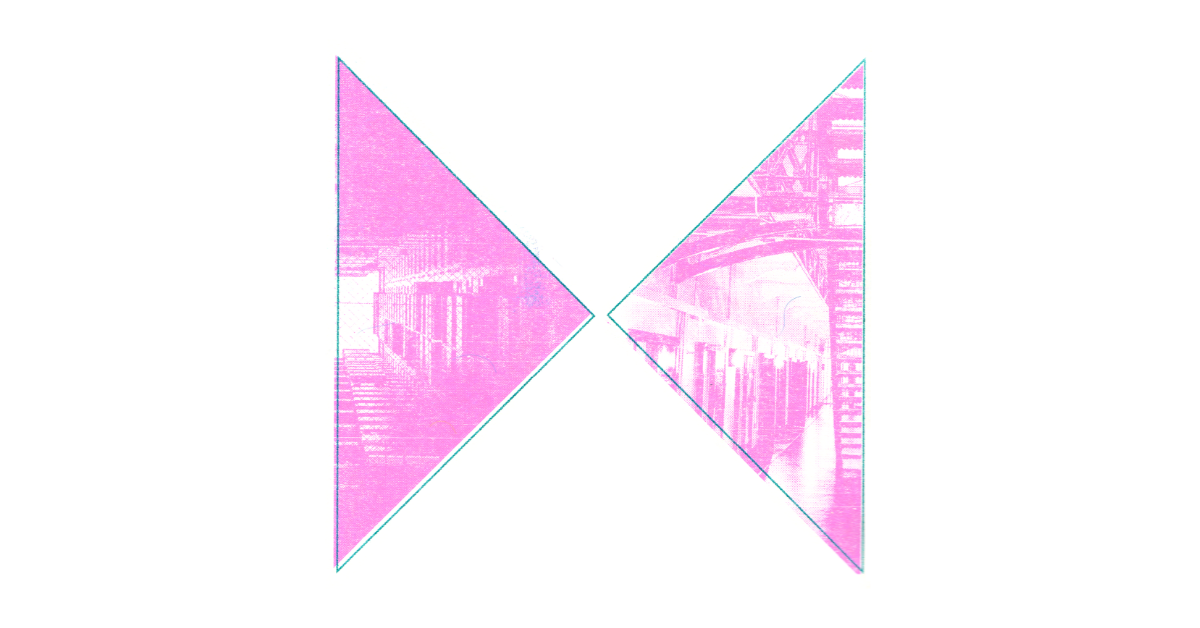 2 triangles filled with a pink printed image of prison