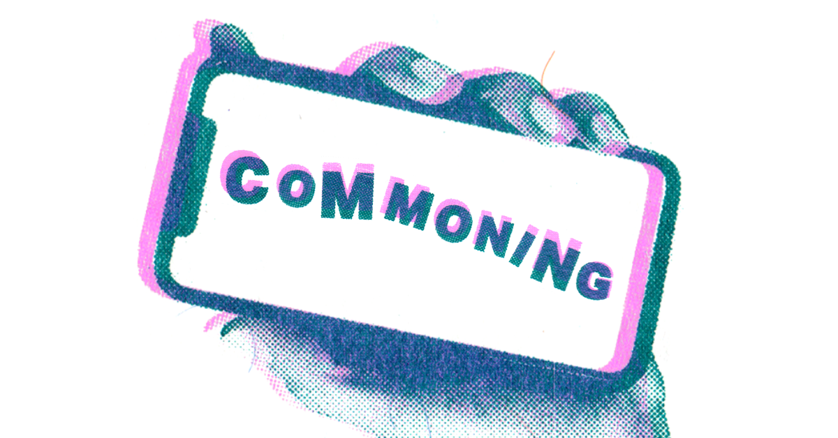 """A phone showing the word """"Commoning"""""""