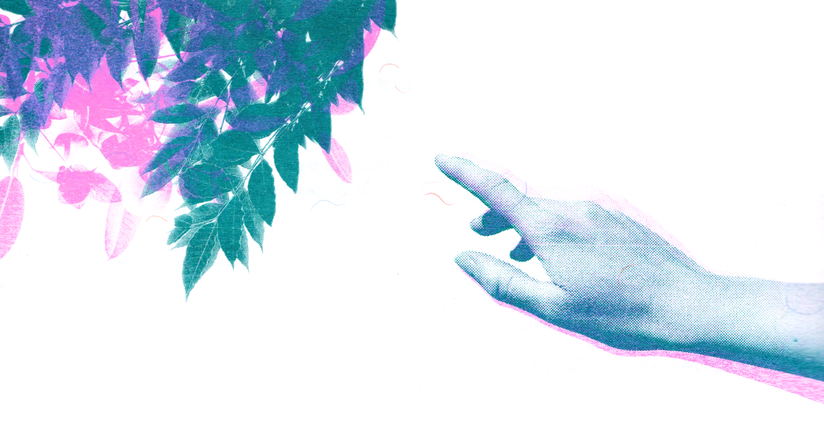 A printed hand and tree brand