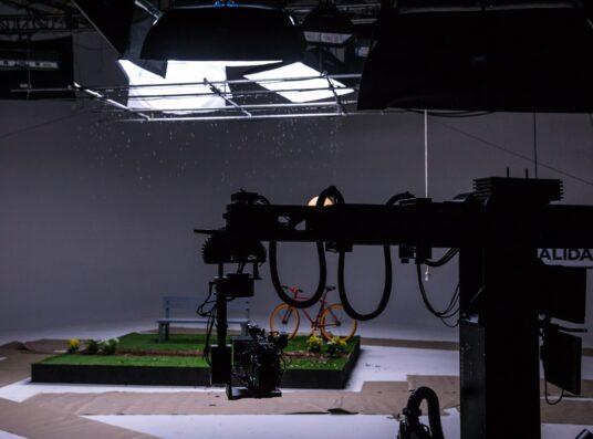 A studio set of a garden